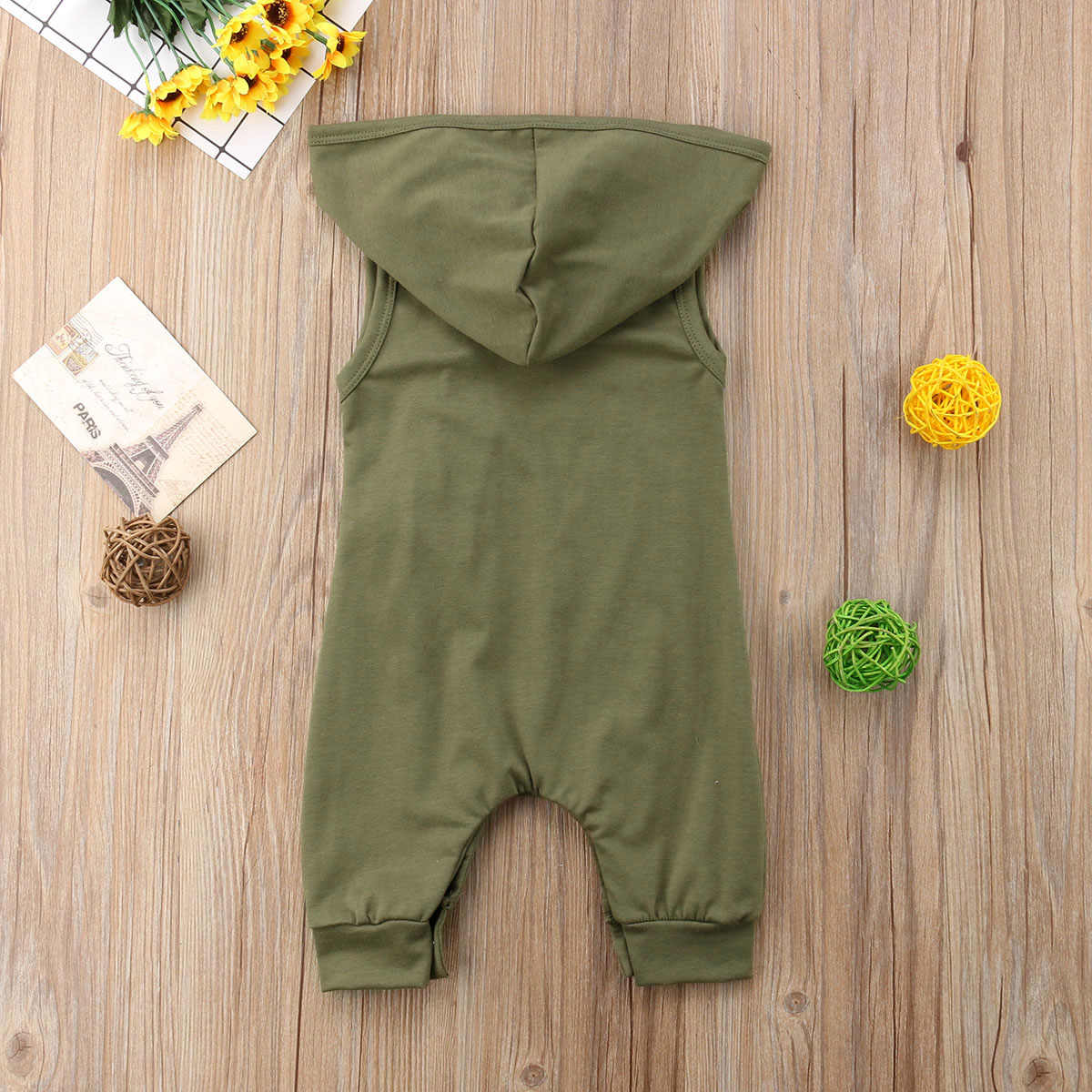 Для новорожденных одежда для малышей мальчиков и девочек Армейский зеленый Цвет без рукавов с капюшоном комбинезон наряд моды Стиль