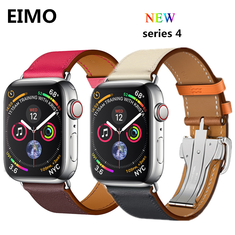 Leather strap For Apple watch band Hermes 4 44mm 40mm Deployment Buckle aple watch correa 42mm 38mm iwatch 4/3/2/1 wrist belt цена