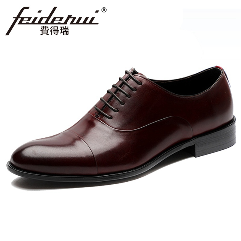 Vintage Natural Genuine Leather Men's Oxfords Formal Dress Pointed Toe Lace Man Flats Cap Toe Welted Party Shoes For Male ASD136
