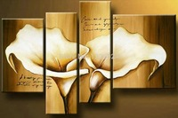 Free Shipping Hand Painted Modern Wall Home Decor Canvas Flower Oil Painting 4 Panels