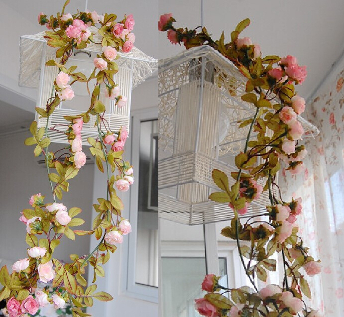 2016 Wedding Decoration New 2015 Artificial Fake Silk Rose Flower Vine Hanging Garland Wedding Home Decor