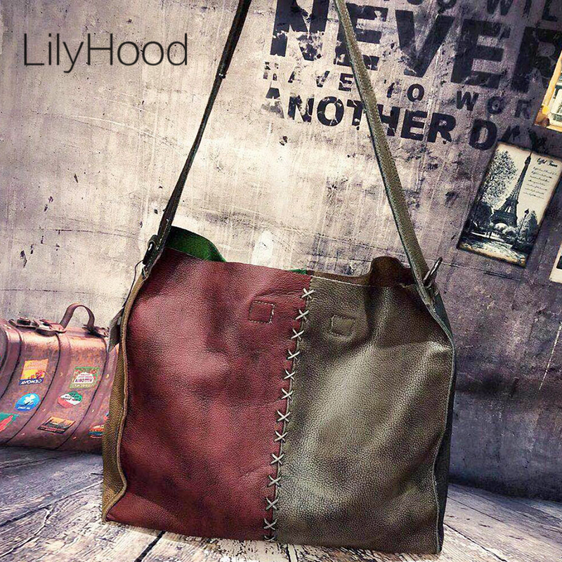 Cowhide Leather Hobo Bag Women Vintage Soft Genuine Leather Slouch Bag Female Handmade Retro First Layer