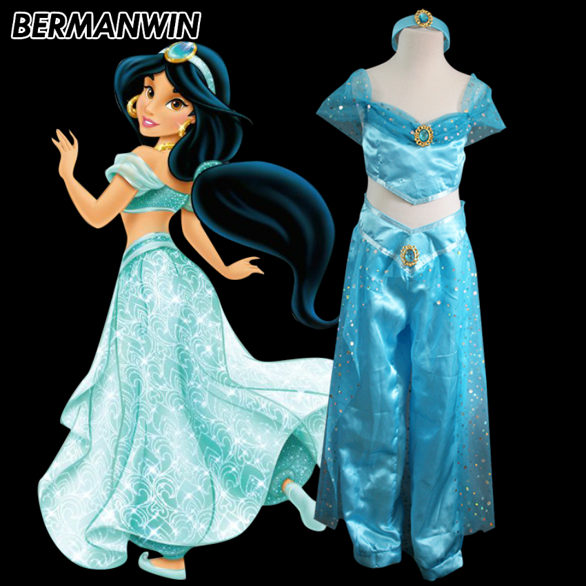 Bermanwin High Quality Princess Jasmine Dress Blue -1537