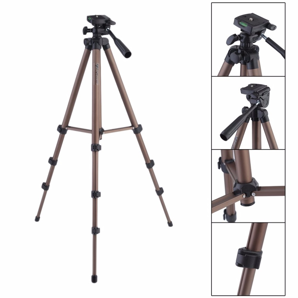 LESHP WT3130 Aluminum Alloy Camera Tripod with Rocker Arm for Canon Nikon Sony DSLR Cameras Camcorders Lightweight Mini Tripod