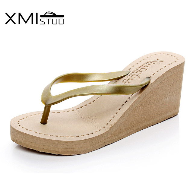 5525bbddbc1 XMISTUO Women Pu Flip Flops Female Summer Beach Wedges Slippers  Water-resistant 7CM High-heeled Slippers 4 Color 7076W