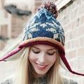 100% Ручной Работы Этническом Стиле Крючком Мозаичный Паркет Шапочка Вязаная Шапка женская Мода Зима Теплая Шапка