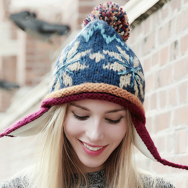 BomHCS 100% Handmade Ethnic Style Crochet Mosaic Parquet Beanie Knitted Hat Women's Winter Warm Cap