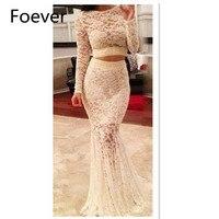 Модная Русалка Двойка платье для выпускного вечера роскошные наряды с длинным рукавом сексуальное кружевное с рыбьим хвостом Платья для ве