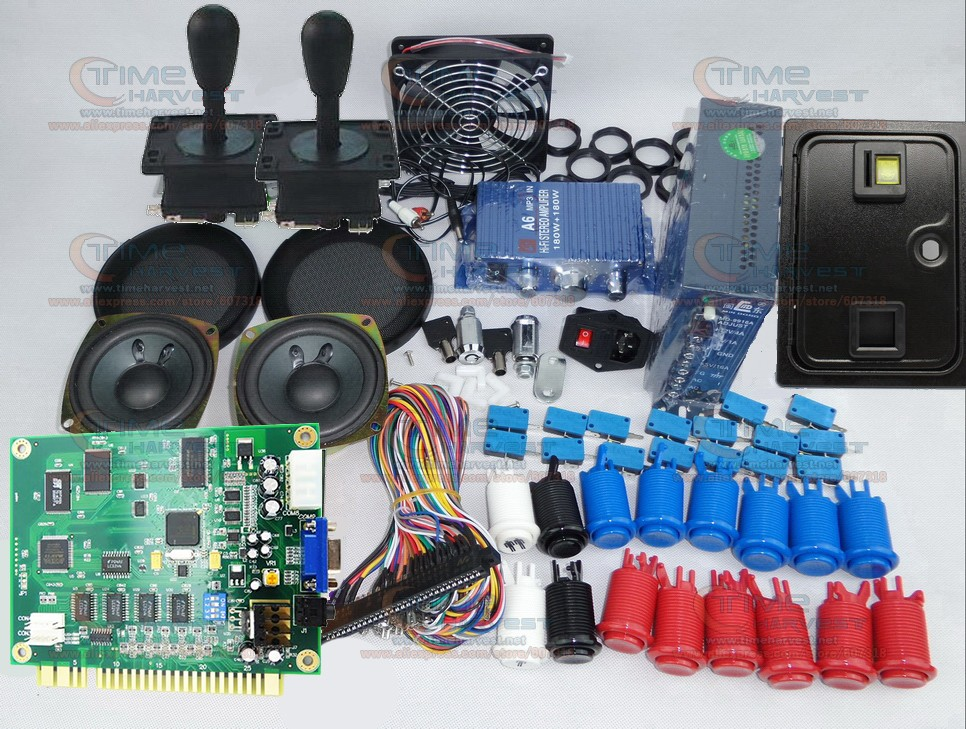 Arcade parts Bundles kit with Classics 60 in 1 game board American Style Joystick Button Coin door Coin mech for Arcade Cabinet free shipping i o board for super bikes 2 kit ar racing game mchine parts coin operator arcade racing game amusement machine page 6