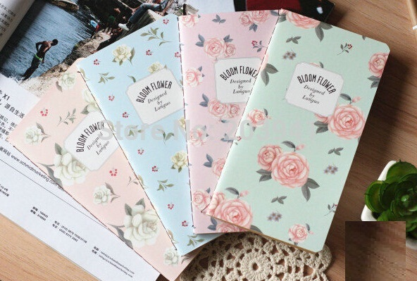 1pcs/lot  Lovely Jasmine Flower series Mini Kraft paper Notebook DIY Diary fashion Gift notepads