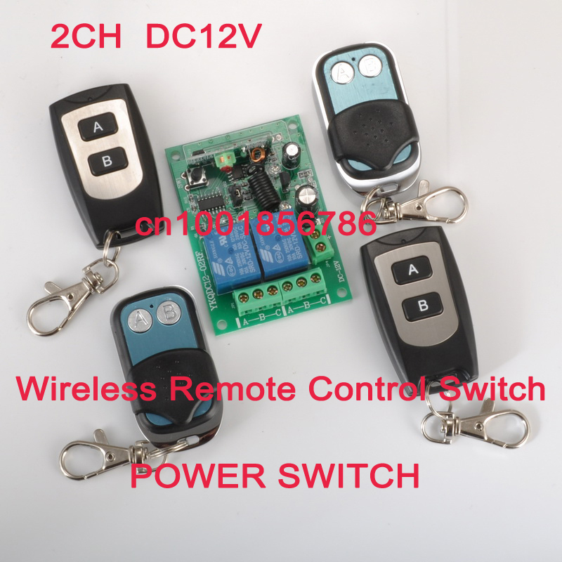 Free shipping 315/433MHZ RF Wireless Remote 4 Transmitter 2CH Power Switch+Receiver(switch) 12V 10A Romote Control Switch System new dc12v 10a mini 1ch rf wireless remote control 4 receiver 4 transmitter 315 433 mhz white black remote control with abcd key
