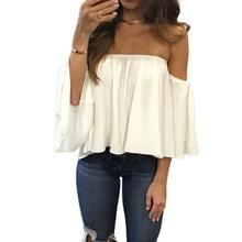 Summer Sexy Chiffon Blouse font b Shirt b font Half Sleeve Off Shoulder Club font b