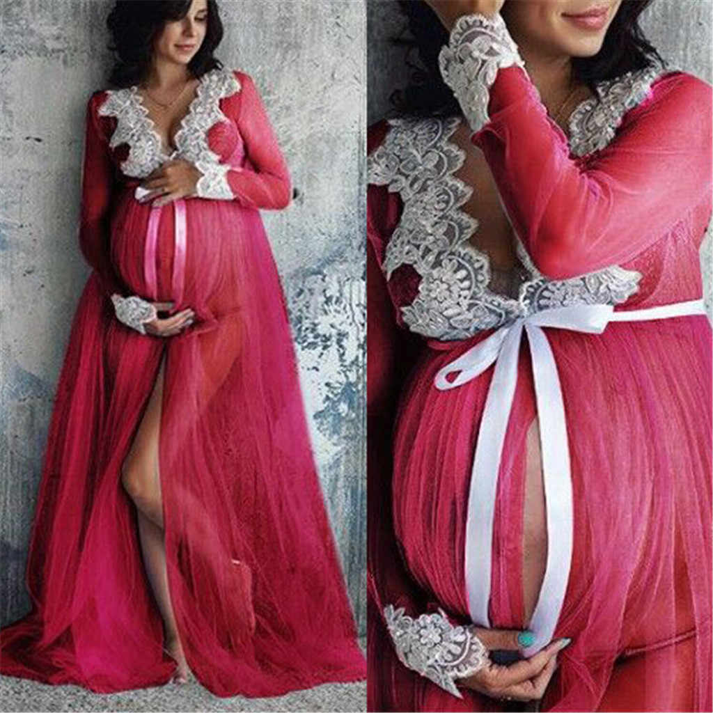 9d3fe36d344 ... Women Lace Maternity Dress Maternity Photography Props Lace Pregnancy  Clothes Maternity Dresses For Pregnant Photo Shoot ...