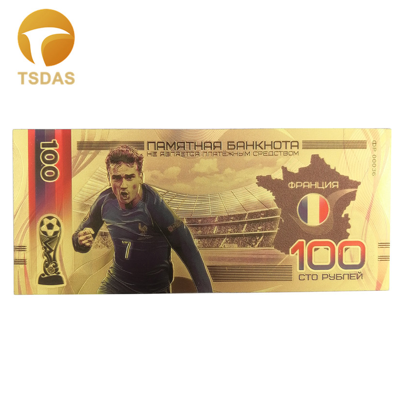 Russia 100 Ruble Gold Banknote Best Football Fans Gift Valued Collection 24k Gold Banknote