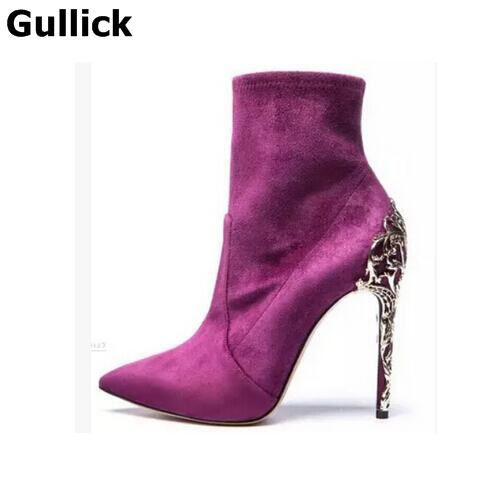Gullick New Women Suede Elastic Boots Slim Thigh High Boots Knee High Boot Sexy Stiletto Heels Pointed Toe High Heels Boots