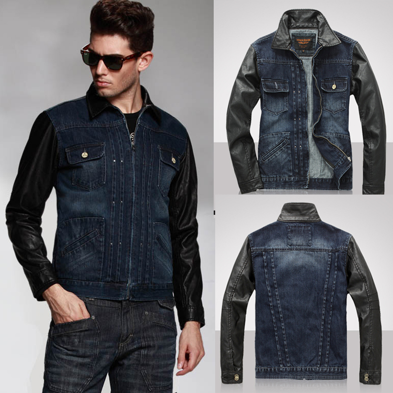Autumn Vintage Designer Mens Cool Denim Jacket With PU Leather ...