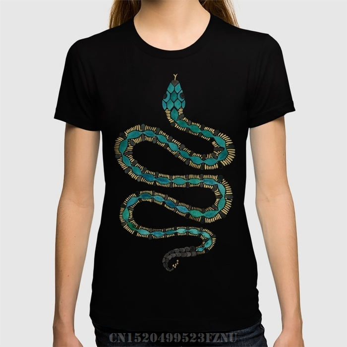 2018 Spring Recommend women t shirt Emerald & Gold Serpent short O neck Cotton funny tees homme Clothing