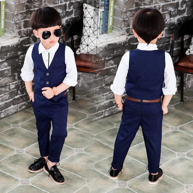 451ab433 Kids Boys 3 Piece Set Clothing Suit Deep Blue Plaid Vest And Pants + White Shirt  Baby Boys Autumn Last Fashion Clothes Set 2-7Y