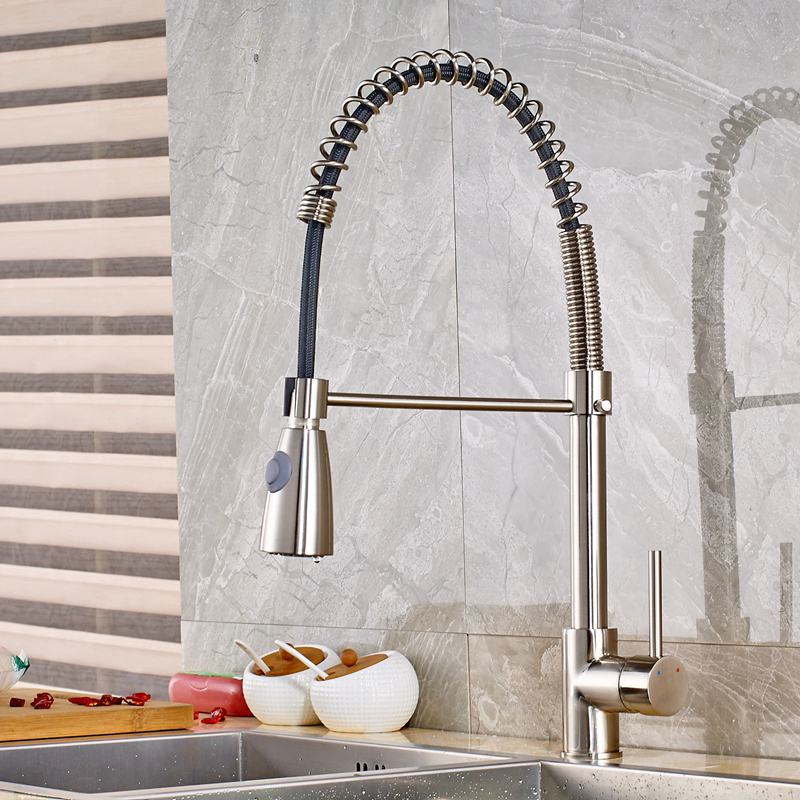Luxury Solid Brass Brushed Nickle Spring Kitchen Sink Faucet Single Hole Mixer