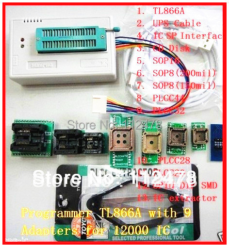 Free shipping XGECU V8 30 Russian & English Software TL866cs TL866A TL866II  Plus USB Universal BIOS Programmer+10 IC Adapters