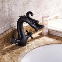 AUSWIND European antique faucet black bronze faucet full copper double handle basin faucet bathroom products