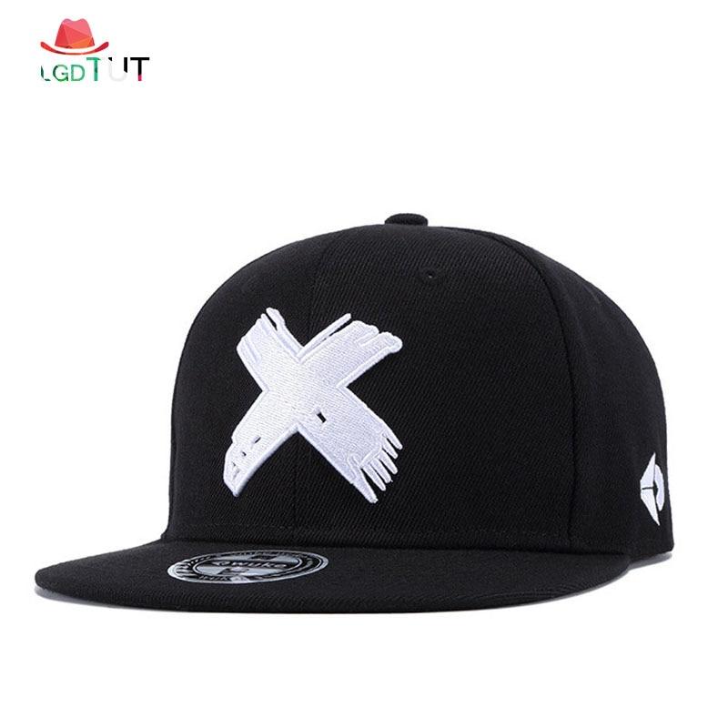 2019 Hip Hop Hats   Baseball     Cap   Unisex Snapback   Cap   Cotton Snapback 3D X Embroidery Mens Flat Brim Street Hip Hop   Baseball     Caps