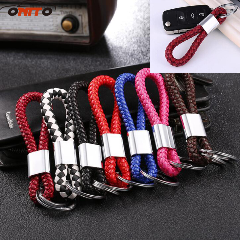 Good quality Unisex Braided Leather Rope Handmade Keychain 10pcs black red blue brown pink Key Holder Car Styling