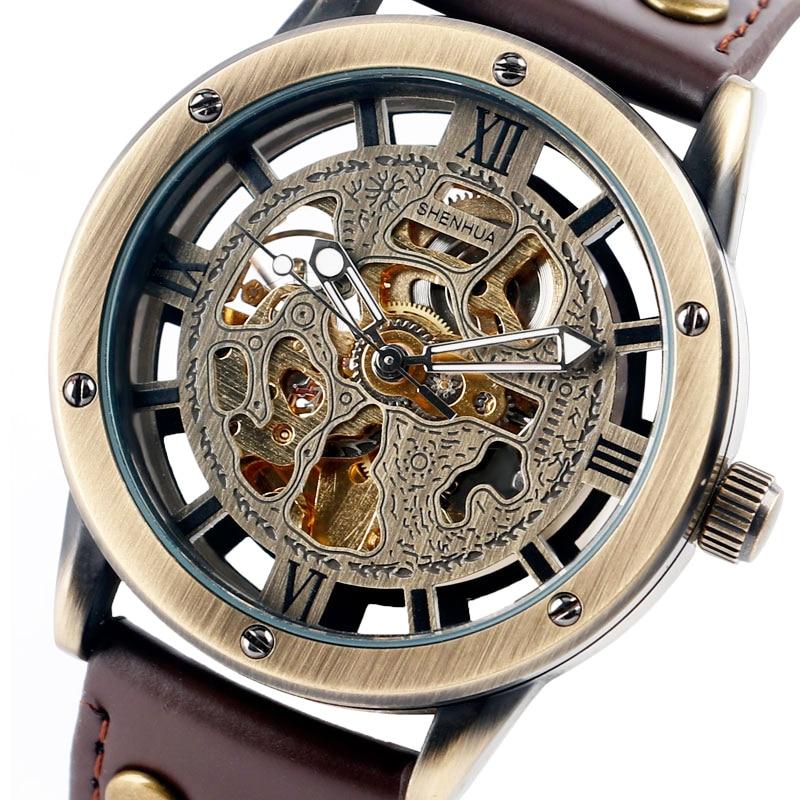 SHENHUA Skeleton Automatic Mechanical Watch Hollow Retro Business Analog Wristwatches Luxury Roman Numbers Self-Wind Clock Hour