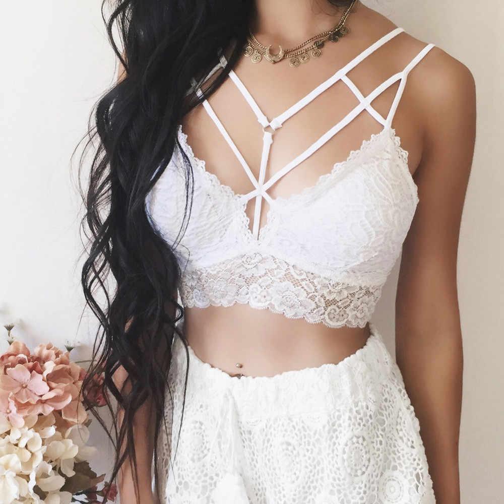 129c9f2b7cf7da ... Sexy Women Solid Bralette Bustier Crop Top Bra Shirt Vest Underwear  brasier Ladies Vest Halter Drop