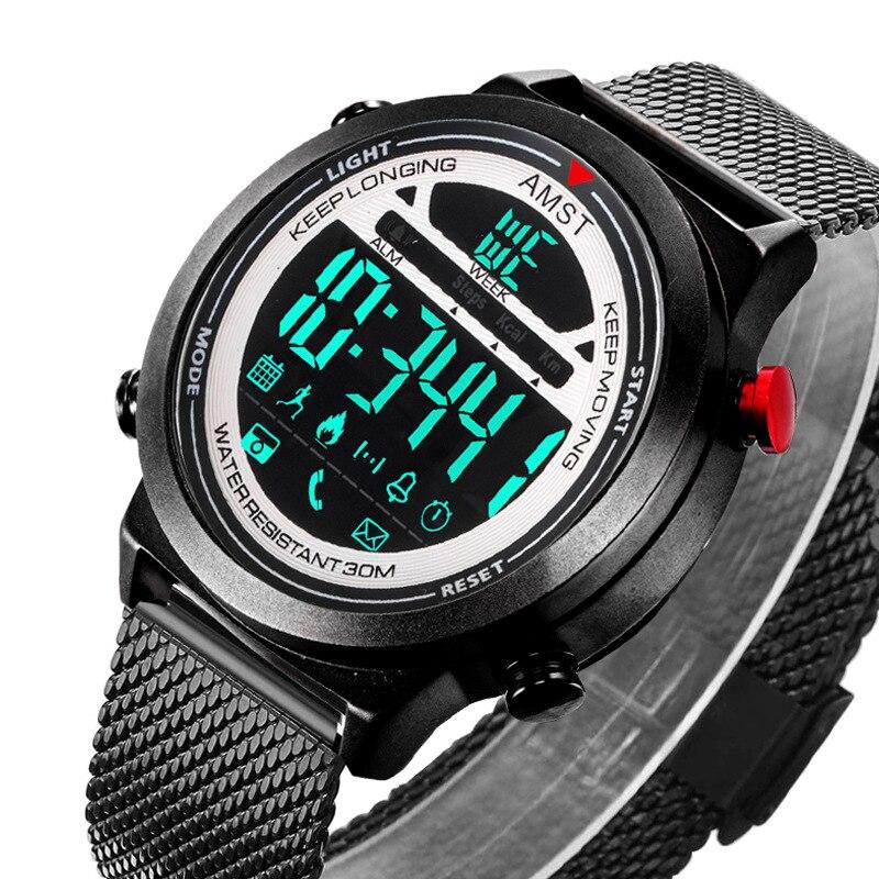 AMST NEW Men Watches Stainless Steel Luxury Waterproof Multifunctional Smart Watch Bluetooth Sports Wristwatches Clock relogio