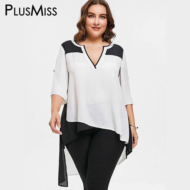 PlusMiss плюс Размеры 5XL Асимметричный Высокий Низкий Белый Шифоновая блузка рубашка женские большие размеры Лето 2018 свободные Boho пляжные Топы ... ...