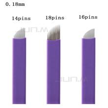0.18mm 50pcs Microblading Needle Blade Accessories Tattoo Eyebrow Permanent Makeup Sterilized Purple 14/16/18pins