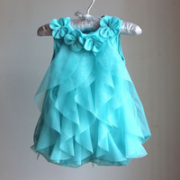 Baby Girl Summer Dress Pink Or Blue Chiffon Princess Clothes Birthday Party Dresses Style Fashion Sleeveless