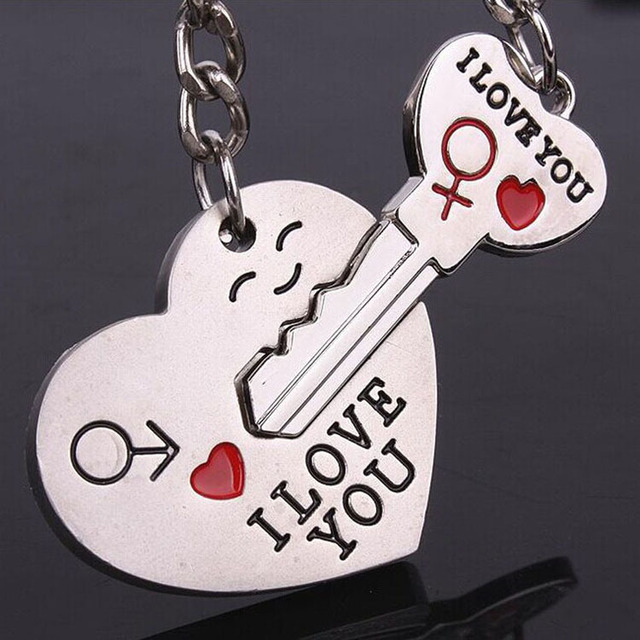 Drop Shipping Couple Gift Heart Key Shaped Keychain Set Valentine's Day Love Gif