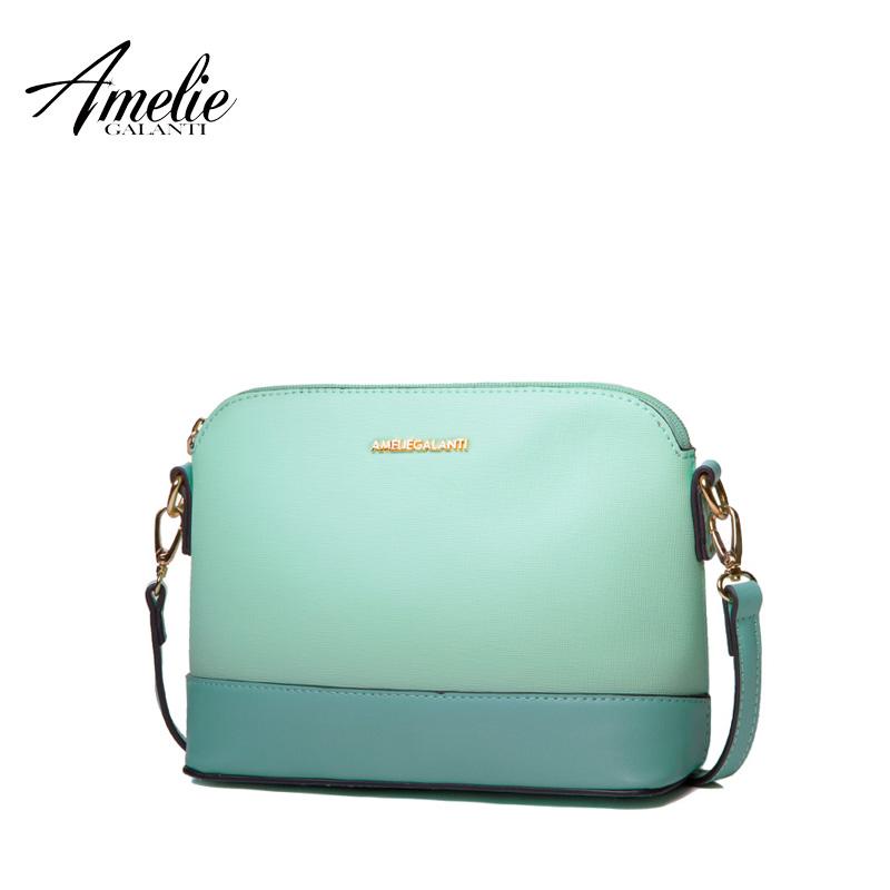Prix pour Amelie galanti nouvelle mode messenger sacs pour femmes célèbre conception petit épaule sac dur shell solide patchwork printemps été