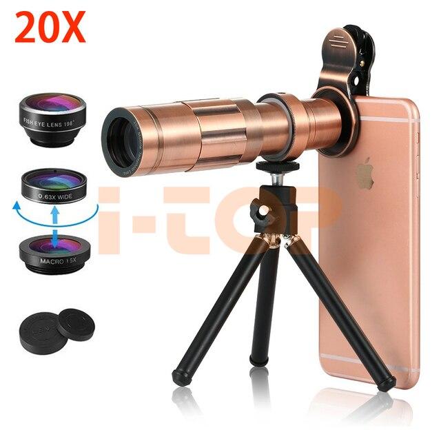 2018 Kit de lentes HD Telefoto 20X Zoom Telescópio Móvel Lentes olho Peixe  Lente Grande Angular Macro Para o iphone X 6 S 7 8 Plus Samsung