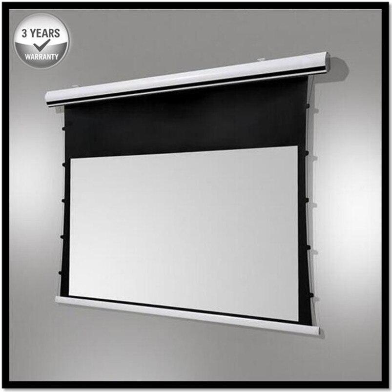 Prémio Tab-Tensão, 4:3 Formato De Vídeo 4 k/8 k Tab-Drop Down tela projetor projeção Elétrica Tensionada, HD Progressive Branco UM