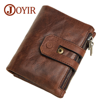 JOYIR Wallet Men Vintage Men Wallet Male Genuine Leather Short Card Holder Thin Small Coin Purse