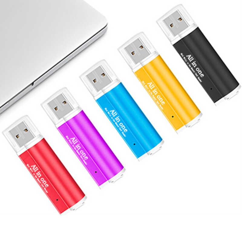 جميع in1 4 فتحات قارئ بطاقات ل T-فلاش ، MMC ، TF ، M2 محول قارئ البطاقات SD لأجهزة الكمبيوتر المحمول الكمبيوتر