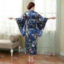 Японский Юката Кимоно Халат С Оби Повседневная Домашняя Одежда Атласная Цветочные Цветок Традиции Пижамы Старинные Халат Пижамы 103101
