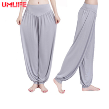 UMLIFE Yoga Pants Women Plus Size Sports Pants Bloomer Dance Taichi Candy Color Full Length Pants Hot Sale Fitness Breathable