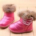 NUEVA Real de Piel de Conejo de Tobillo EU21-30 Infantiles Snow Boots Niños Zapatos de Las Niñas Botas de Invierno Caliente de la Felpa A Prueba de agua de Goma Suave