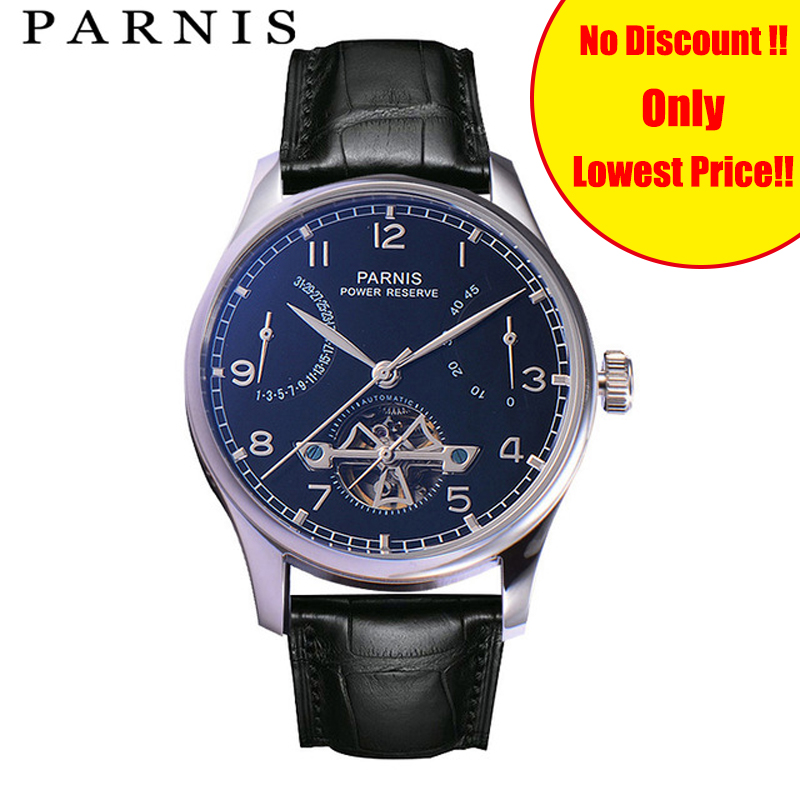 Hot Sale Brand Parnis 43mm Mechanical Watch Men Power Reserve Stainless Steel Case Chronograph Leather Mens Automatic WatchHot Sale Brand Parnis 43mm Mechanical Watch Men Power Reserve Stainless Steel Case Chronograph Leather Mens Automatic Watch