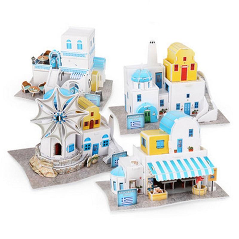 CubicFun Paper Puzzle Models Toy DIY Greece Buildings 3D Cardboard Assembling Model Educational Toys For Children diy wooden assembling brontosaurus model burlywood