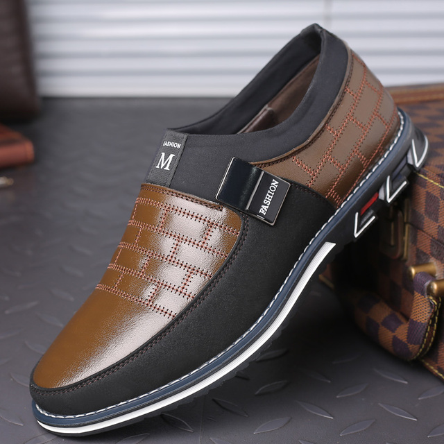 New Big Size 38-48 Leather Men Fashion Casual Slip On Formal Business Wedding Dress Shoes 2
