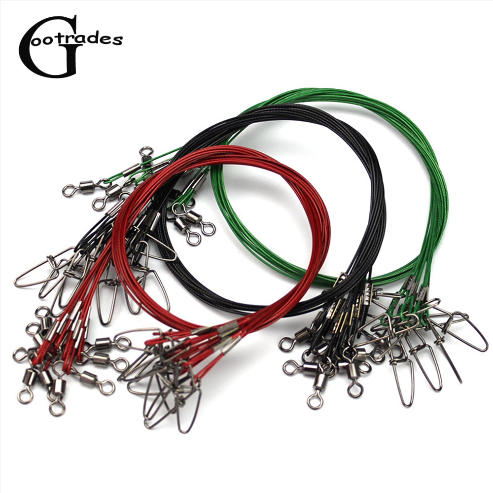 10Pcs 50cm Fishing Line Steel Wire Leader With Swivel Fishing Accessory Red/Black/Green Lead Core Leash Fishing Accessories
