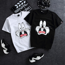 2018 Summer T-shirt Women Lady Top Cotton Female White Clothing Printed Lovely Cat Cute Cartoon T-shirts For