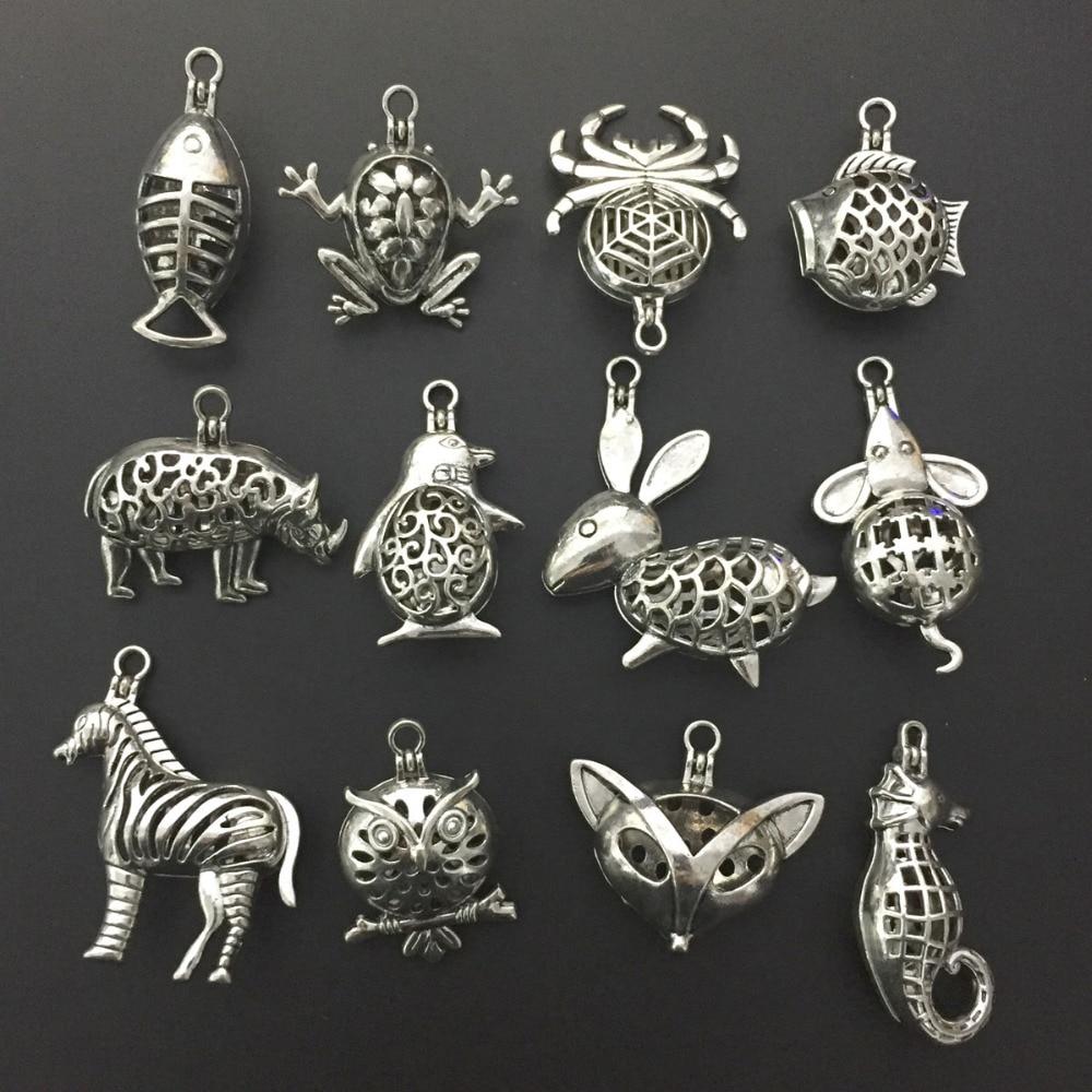 Charms 12 sztuk Mieszane Aromaterapia Zapięcie Magnetyczne Medalik Zwierząt Kształt Koraliki Pearl Cage Naszyjnik Tworzenia Biżuterii Xmas Prezent