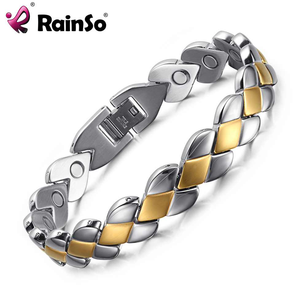 Rainso Health Bracelets for Men Magnetic Stainless Steel Metal Gold Silver Plated Jewelry Luxury Bracelet OSB-1270SG