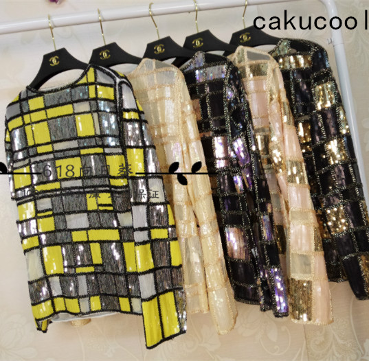 Cakucool Women Sequined Blouse Tops Mesh Blusas Long Sleeve Plaids Beaded Gold Silver See-through Lady Runway Blouses Shirt